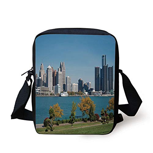 Detroit Decor,Industrial City Center Shoreline River Scenic Panoramic View Sunny Day Decorative,Blue Green Silver Print Kids Crossbody Messenger Bag Purse