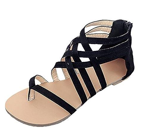 Minetom Femme Fille Été Casual Creux Respirant Plat Chaussures Rétro Romaine Tressé Orteil Clip Sandales Antidérapant Plage Pantoufles Noir EU 35