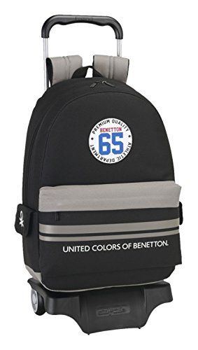 077020 Benetton Boys Mochila Tipo Casual, Color Negro