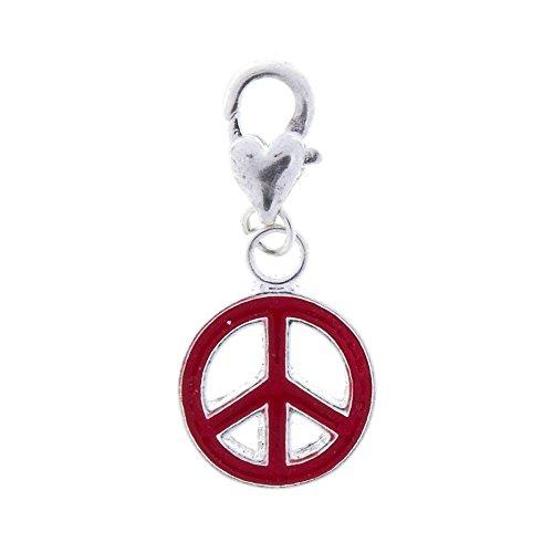 MYC Paris - DIY Bijoux - Charms à clipper Peace and Love (fermoir mousqueton) sur bracelet ou collier - Femmes - Coloris Rouge