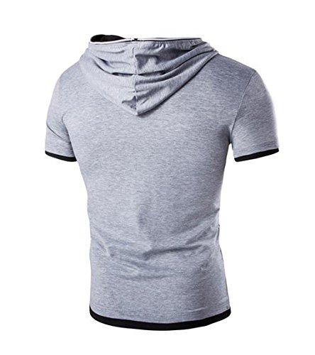 Herren Asymmetrisch Geneigt Reibverschluss Entwurf Armellos Kapuzenpullover T-Shirt Mit Kapuze Panzer Oben Baumwolle Hoodies T-Stuck Ubergroße Hell Grau