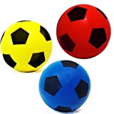 Pack of Three 20cm (size 5) E-Deals Soft Foam Sponge Indoor Outdoor Football Soccer Ball