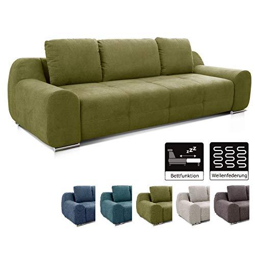 Cavadore Big Sofa Benderes / Schlafsofa mit Bettfunktion und Bettkasten/ Moderne Couch /mit Steppung und Ziernaht / Inkl. 3 Kissen / Chromfüße / 266 x 70 x 102 (BxHxT) /  Grün