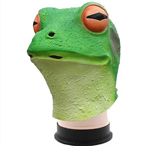 WYJSS Party Geschichte Halloween Latex Maske Frosch Maske Tier Latex Maske Tanz Requisiten Cosplay Kostüm Prop Neuheit Schöne Lustige Geschenke,Green-OneSize