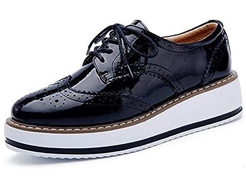 DADAWEN Brogues Femmes /Chaussures de Ville à Lacets Derbies Baskets Cuir Plateforme Noir 40