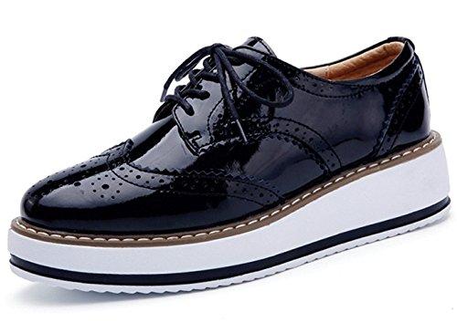 DADAWEN Brogues Femmes /Chaussures de Ville à Lacets Derbies Baskets Cuir Plateforme Noir 37