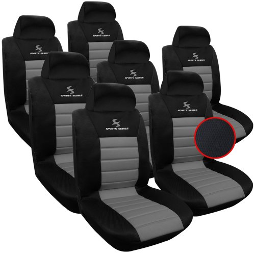 WOLTU AS7255-7 7er Sitzbezüge Auto Einzelsitzbezug universal Größe, Komplettset, grau