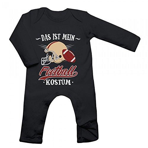 Shirt Happenz Kostüm Football Babybody | Verkleidung | Karneval | Fasching | Langarm | Langärmliger Strampler, Farbe:Schwarz (Black BZ13);Größe:6-12 Monate