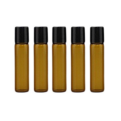 5X Milopon Roll-on Glasflaschen für ätherisches Öl Aromatherapie Öl nachfüllbar Flaschen mit Roller Ball 5ml dunkelbraun - 5ml Köln