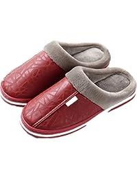 42ce18f284cca YOGLY Chaussons en Cuir Pantoufles Femmes Hommes fourure doublée Pantoufles  Hiver Chaudes Mules de Bain Chaussures