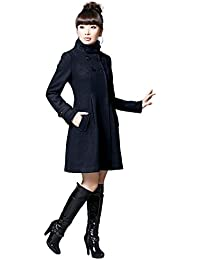 Imixcity Women's Winter Slim Fit Hooded Double-breasted Woolen Lungo Cappotto Coat