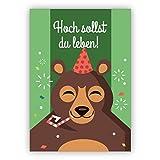 Lustige Geburtstagskarte mit Bär und Partyhut: Hoch sollst du leben!