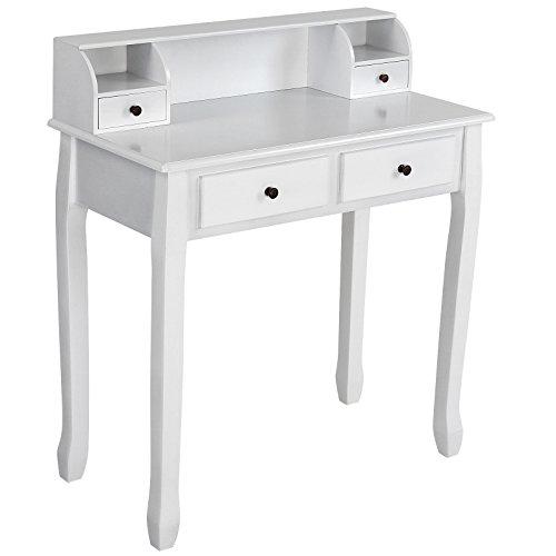 Miadomodo - Tocador escritorio de estilo romántico con 4 cajones en color blanco elegir