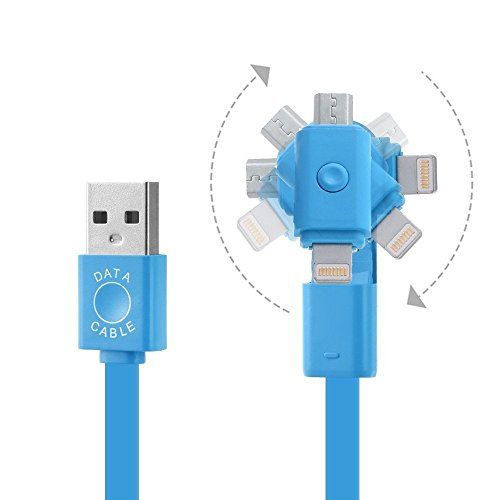 Blitzkabel 2 in 1 Rotation 8-polig Lightning + Android Micro USB Schnell Ladegerät Schnur für Apple iPhone 5 5C 5S 6 6S Plus iPod iPad Air Mini Samsung S6 S7 Edge S5 S4 S3 Hinweis 3 4 5 LG (blau)