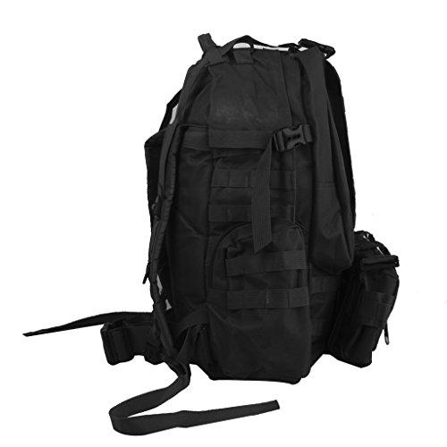 Wanderrucksäcke Militär Taktisch Rucksack Molle Angriff Rucksack Tasche Wandern 65L (Bräune) Schwarz