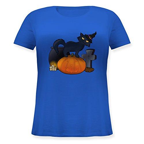 Shirtracer Halloween - Halloween Katze mit Hexenhut - Lockeres Damen-Shirt in Großen Größen mit Rundhalsausschnitt Blau
