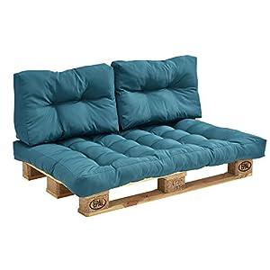 [en.casa] Euro Paletten-Sofa - DIY Möbel - Indoor Sofa mit Paletten-Kissen/Ideal für Wohnzimmer - Wintergarten (1 x Sitzauflage und 2 x Rückenkissen) Türkis