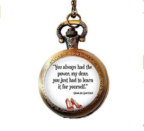 You Always Had The Power Pocket Watch, Wizard of Oz Jewelry, Wizard of Oz Necklace, Quote Jewelry Pocket Watch