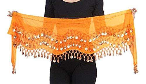Belly Dance Bauchtanz Hüfttuch Kostüm 128 goldfarbenen Münzen Münzgürtel Fasching Karneval Tanzaufführung Gürtel in orange / Marke ()