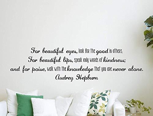 Dozili Wandaufkleber mit Zitat Audrey Hepburn Zitat inspirierend motivierend für schöne Augen, 122 x 33 cm