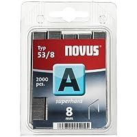 """Novus 042-0356 A 53 - Grapa de alambre fino""""ultraduro"""" con 8 mm longitud, 2000 Grapas del Tipo 53/4 ultraduro, un alambre de altísima solidez y estabilidad de la grapa"""