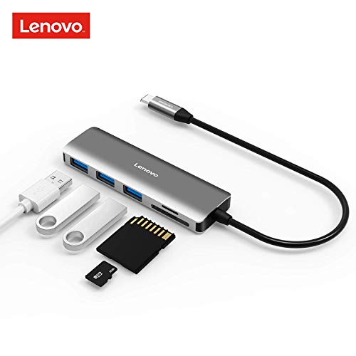 Lenovo USB C Hub, 5 in 1 Type C Adapter 3 USB 3.0 Ports (5Gbps Transfer Speed), SD/TF Kartenleser kompatibel für USB C Geräte -