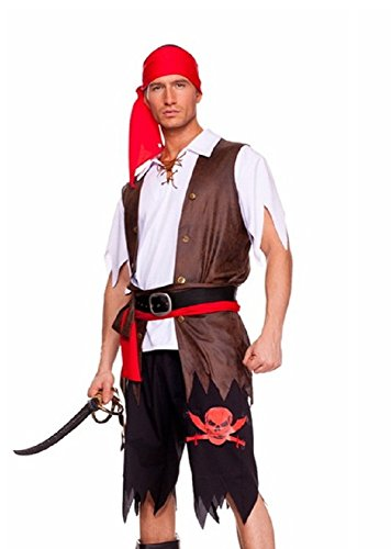 New Men 's Pirat Kostüm Kleid Halloween Hirsch Night Party Kostüm Plus Größe UK (Kostüm Mens Size Pirate Plus)