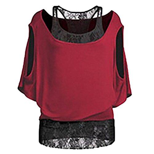 NiSeng Damen Rundkragen Off Shoulder Fledermausärmel Kurzarm Spleiß Gefälschte Zwei Oberteile T-Shirt Tops Rot