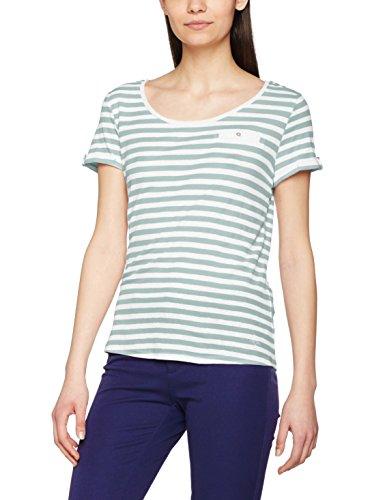 edc by ESPRIT Damen T-Shirt 047CC1K013 Mehrfarbig (Light Aqua Green 390), 34 (Herstellergr Preisvergleich