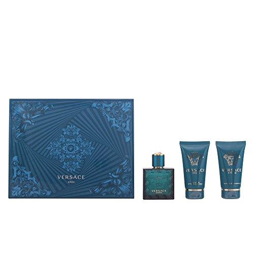 Versace Eros Geschenkset für Ihn (EdT Spray 50ml, Duschgel 50ml + After Shave Balm 50ml)