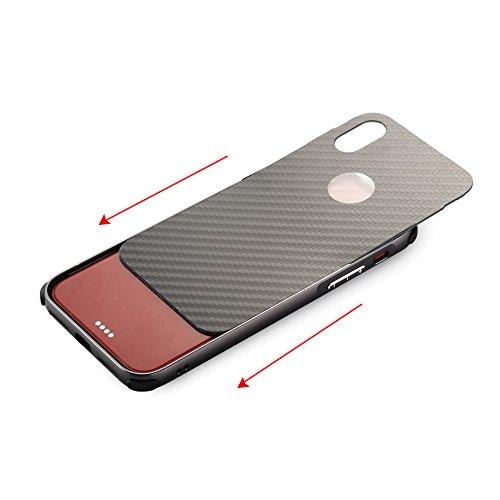 UKDANDANWEI Apple iPhone X Hülle,Ultra Dünn Carbon-Faser Metall Zurück Case Cover mit Hard Bumper Schutz[Kratzfeste Stoßdämpfende] Überzug Aluminium Handy Tasche Schale für Apple iPhone X - Grau Gold