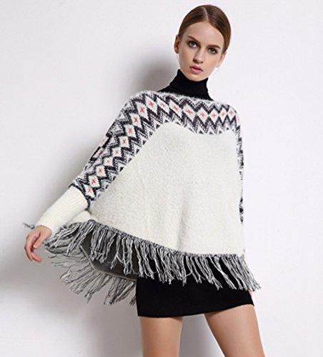 ZKOO Donne Poncho Pipistrello Shirt Maglieria Mantello Poncho Capo Mantello Giacca Corta Frange In Maglia Maglione Sweatercoat Come l'immagine 3