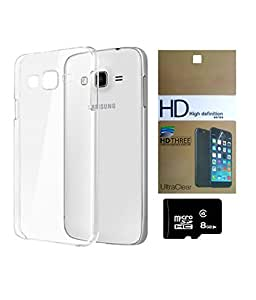 SAMSUNG Galaxy J2 MOCELL Transparent Soft Back Case Cover With 8 GB MEMORY CARD AND SCREEN GUARD Combo