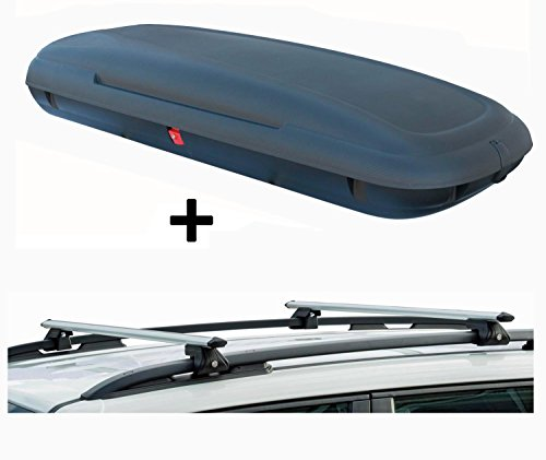 VDP VDP-CA480 Dachbox 480 Ltr Carbon Look abschließbar + Alu Relingträger CRV120 kompatibel mit Dacia Logan MCV ab 13 abschließbar