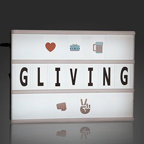 Leuchtkasten, GLiving® A4 Cinematic light box Freien Kombination mit 124 Buchstaben Zahlen Symbole und Emoji
