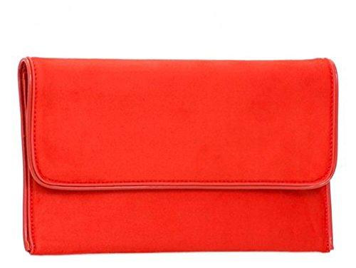 Haute für Diva S Neu Damen Kunstleder Party Formell Clutch Handtasche - Rot, Medium Scharlachrot