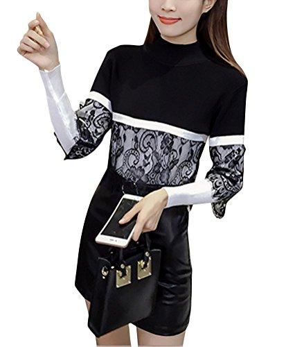 Brinny nouvelle femme fashion chandail jointif Floral Dentelle col ronde manches longues-Taille unique Noir