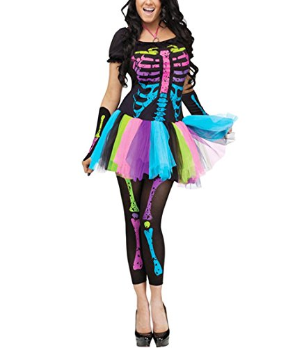 DuuoZy Frauen Sexy Neon Skeleton Knochen Kostüm Cosplay Zombie Outfit , color , Free