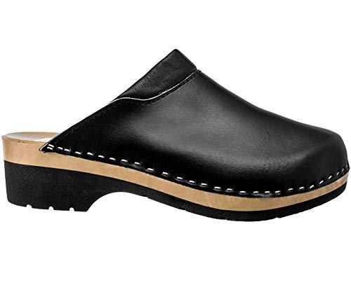 ESTRO Zuecos De Madera para Mujer Calzado Sanitario De Trabajo CDL02 (40, Negro 1)