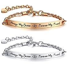 Sterling Silber 925 Armband Doppel-Herz Kostelose Gravur Armkette Freundschaft