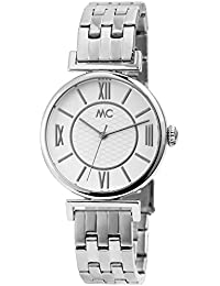 MC Timetrend Germany - Reloj de Pulsera analógico para Mujer, Acero Inoxidable, Color Blanco