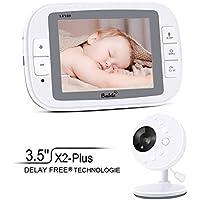"""Bable Vigilabebe con Camara, X2-Plus Vigilabébé con Pantalla LCD a Color de 3.5"""", Visión Nocturna, Charla Bidireccional, Vigilancia de Temperatura"""