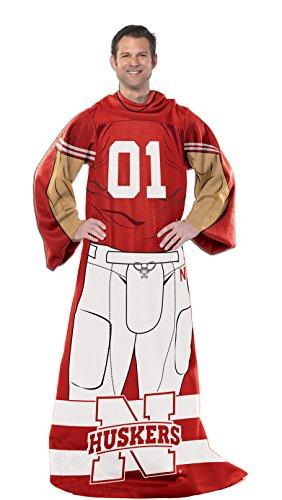 NCAA Nebraska Cornhuskers Erwachsene Player Uniform gemütlichen Überwurf Decke mit Ärmeln, 116,8x 180,3cm - ärmel Decke Werfen
