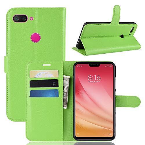 Jonmao Xiaomi Mi8 Youth / Mi8 Lite Hülle, Grün Wallet Handyhülle Qualität Magnetic Flip PU Leder Stand Schutzhülle für Xiaomi Mi8 Youth / Mi8 Lite