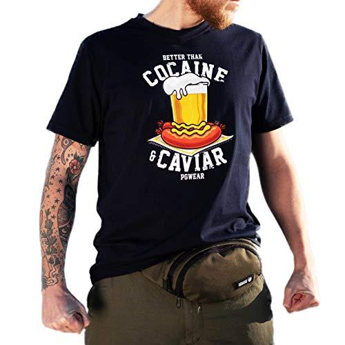 PGwear Herren T-Shirt Better Than Cocaine and Caviar schwarz grau Navy (L, Navy)