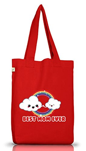 Geschenkidee Jutebeutel Stoffbeutel Earth Positive mit Cloud Best Mom Ever Motiv Red