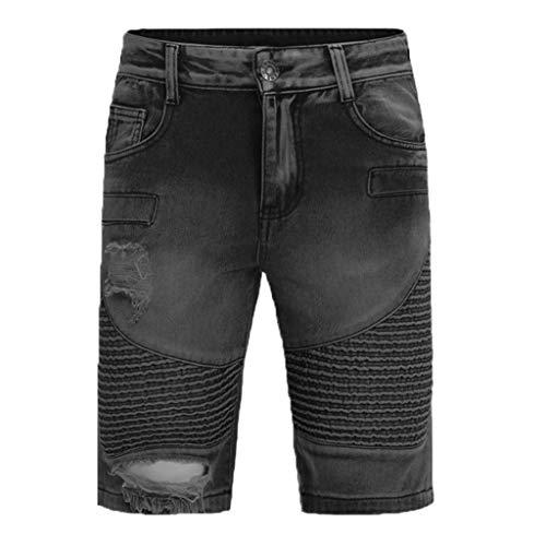 WQIANGHZI Shorts Herren Sport Jeans Jogger-Denim Freizeithose Kurze Hosen Mit Elastischem Bund Und Destroyed-Optik Aus Stretch-Material Slim Fit Hoch Wertige Street Style Ripped Loch (ohne Gürtel)