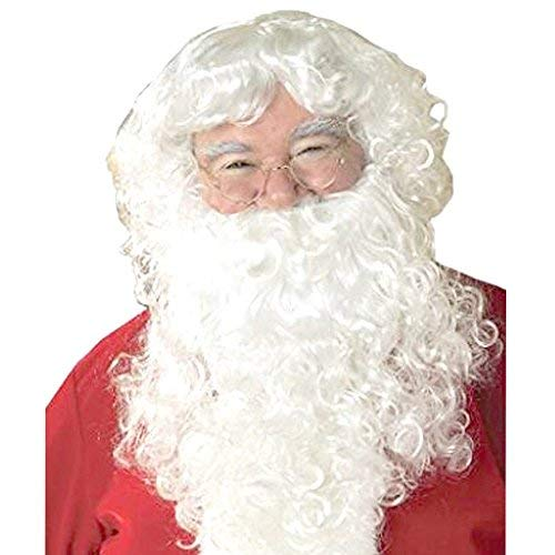 Mufly Weihnachtsmann Bart und Perücke Weiß Nikolaus Kostüm Weihnachten Karneval Halloween
