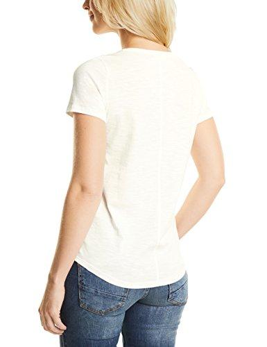 Cecil Frontprint Shirt, T-Shirt Donna Weiß (Pure Off White 30125)