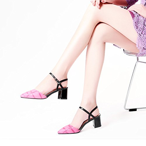 Estate moda donna sandali comodi tacchi alti,35 nero Pink